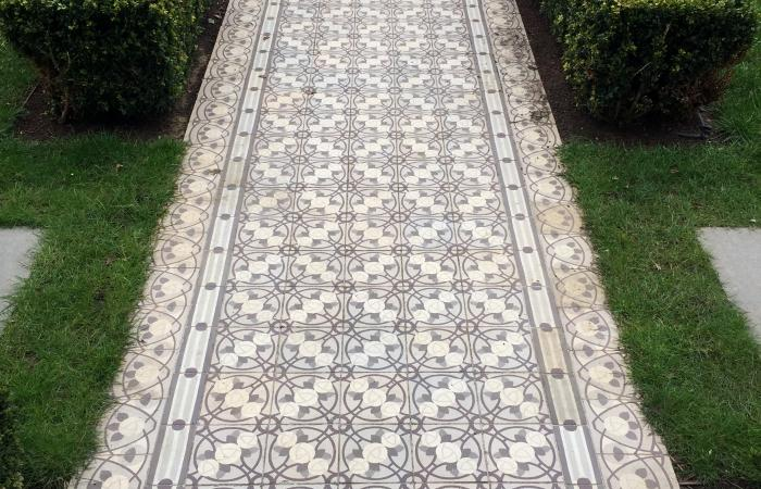 A unique French antique tile path in a south London home