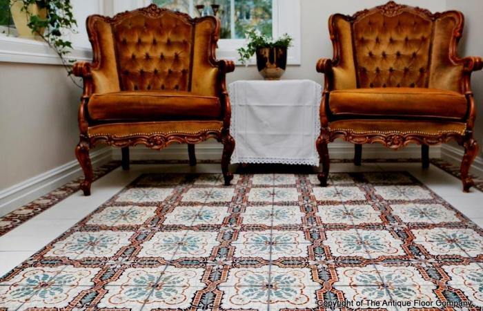 A mosaic themed antique French ceramic in a Norwegian lounge