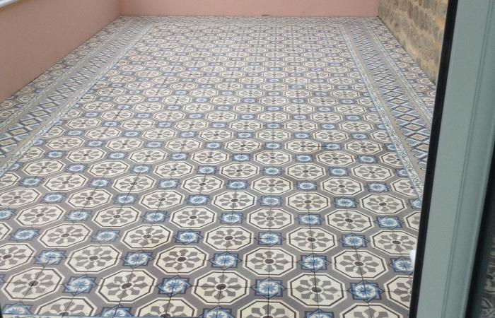 A late 19th century antique Belgian floor in a Dorset conservatory