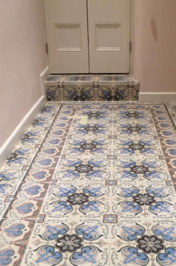 A supplied antique floor laid in wash room