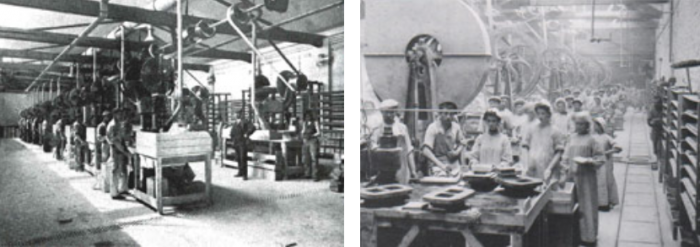 Screw press 'mass production' in France c.1910. Note the individual tile moulds with workers producing two tiles at a time